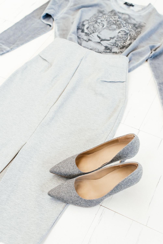 Grey pointy heels